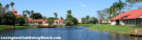 Some residents of Delray Beach's Lexington Club can most quickly reach the community clubhouse by taking a walk along the scenic lake.